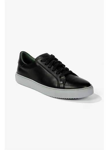 Krähe Corbeau Siyah Deri Minimal Sneaker Siyah